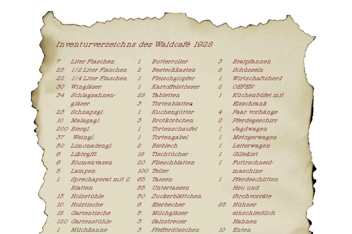 Inventurverzeichnis des Waldcafé von 1928